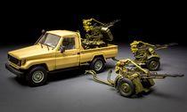 """Maquette voiture : Pick-up Toyota """"Hilux"""" avec canon AA ZU-23-2 - 1:35 - Meng VS005"""