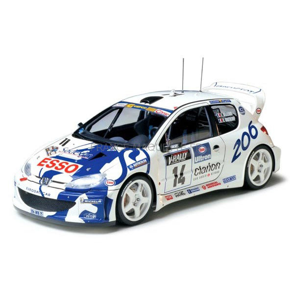 maquette plastique tamiya 24221 peugeot 206 wrc voiture de rallye fran aise mod le 206. Black Bedroom Furniture Sets. Home Design Ideas