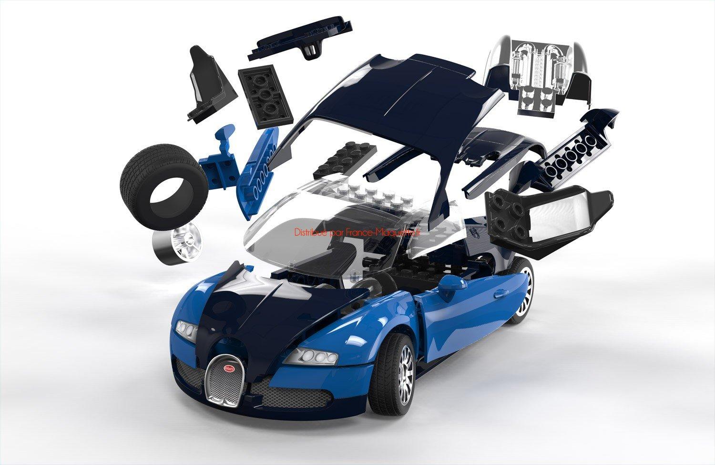 maquette voiture bugatti veyron bleu noir 1/18 alphite