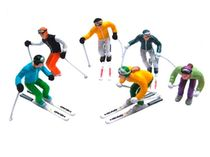 Miniatures de 6 figurines debout à ski miniatures - 1:32 - Jaegerndorfer 54400