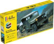 Maquette militaire de véhicule léger  : Starter kit US 1/4 Ton Truck 'n Trailer - 1/35 - Heller 57105