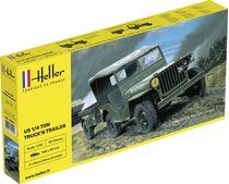 Maquette militaire de véhicule léger  : US 1/4 Ton Truck 'n Trailer - 1/35 - Heller 81105