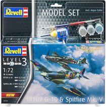 Boîte maquette avion militaire : Model Set Combat Set Bf109G-10 & Spitfire Mk V - 1:72 - Revell 63710