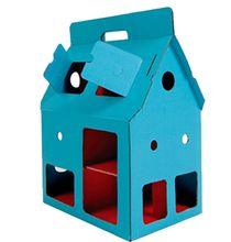 Maison de poupée / personnages en carton à décorer 'MobileHome bleue'