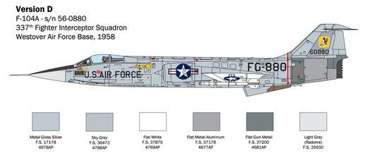 Maquette avion militaire : F-104 Starfighter A/C - 1:32 - Italeri 02515 2515 - france-maquette.fr