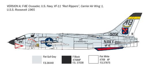 Maquette avion militaire : F-8E Crusader - 1:72 - Italeri 1456 01456