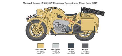 Maquette militaire : Zündapp KS 750 Sidecar - 1:9 - Italeri 7406 07406