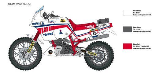 Maquette de moto : YAMAHA Ténéré 660cc Paris Dakar 1986 - 1:9 - Italeri 04642 4642 - france-maquette.fr