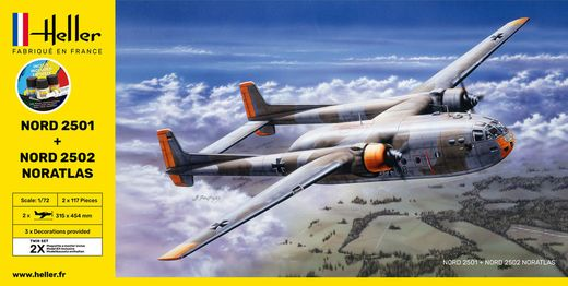 "Maquettes avions : Starter kit Nord2501 + Nord 2502 ""Noratlas"" Twinset - 1/72 - Heller 55374"