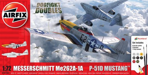 Maquette chasseurs : Messerschmitt Me262 & P-51D Mustang Dogfight Double - 1:72 - Airfix 050183 50183