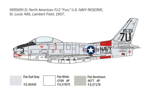 Maquette avion : FJ‐2/3 Fury - 1/48 - Italeri 2811 02811