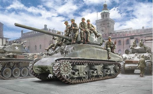 Maquette véhicule militaire : M4A1 Sherman et Infanterie - 1:35 - Italeri 06568 6568