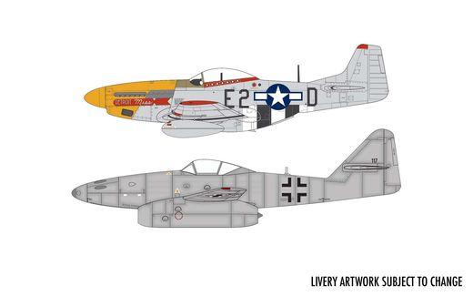 Maquette chasseurs : Messerschmitt Me262 & P-51D Mustang Dogfight Double - 1:72 - Airfix 050183 50183 - france-maquette.fr
