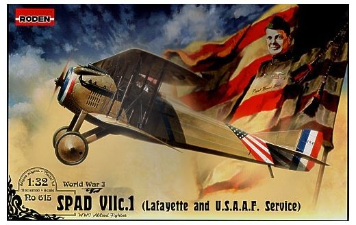 Maquette avion militaire : SPAD VII c.1 Escadrille Lafayette & USAAF - 1/32 - Roden 00615
