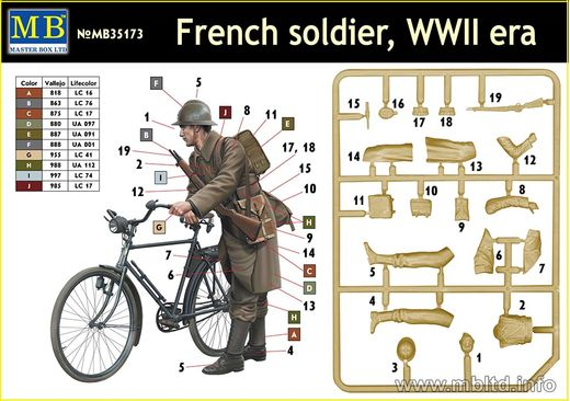 Figurines militaires : Soldat francais à velo - 1:35 - Masterbox 35173