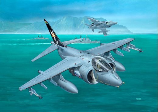 Maquette avion militaire : Model Set BAe Harrier GR.7 - 1:144 - Revell 63887