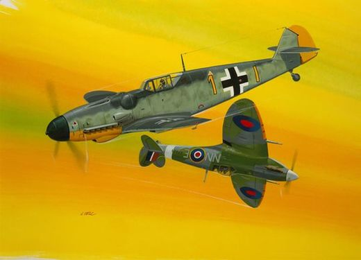 Maquette avion militaire : Model Set Combat Set Bf109G-10 & Spitfire Mk V - 1:72 - Revell 63710 - france-maquette.fr