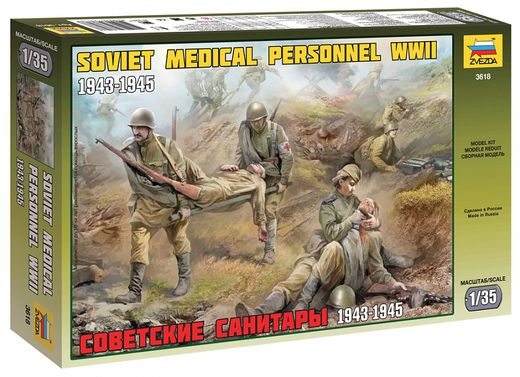Figurines militaires : Infirmiers sovietiques WWII - 1/35 - Zvezda 3618 03618 - france-maquette.fr