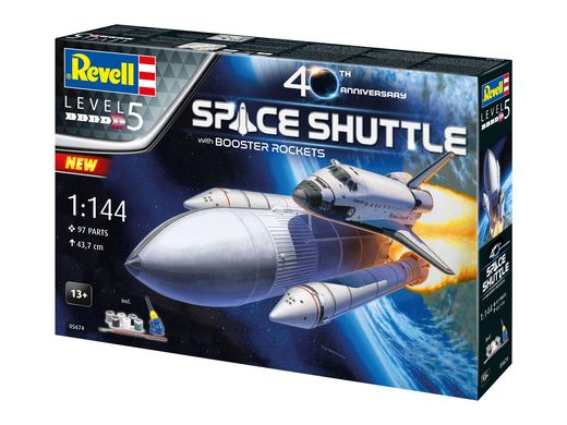 Maquettes : Coffret cadeau navette spatiale & booster rockets 40e anniversaire - 1:144 - Revell 05674 5674