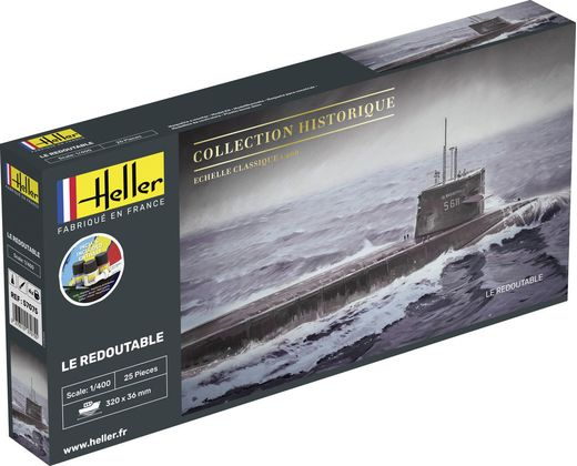 Maquette sous-marin : Starter Kit U-Boot S/M Redoutable - 1:400 - Heller 56995