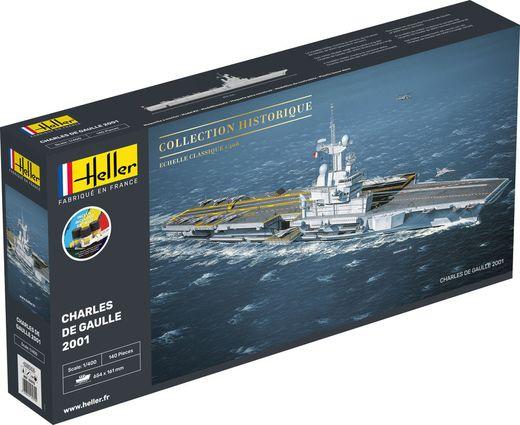 Maquette Porte-avions - Starter Kit : Charles de Gaulle 2001 - 1/400 - Heller 57072