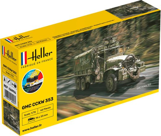 Maquette militaire : Starter Kit GMC CCKW 352 - 1:72 - Heller 56996