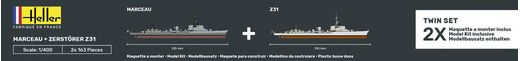 Maquette bateau : Starter Kit Marceau + Zerstörer Z31 TWINSET - 1:400 - Heller 55009