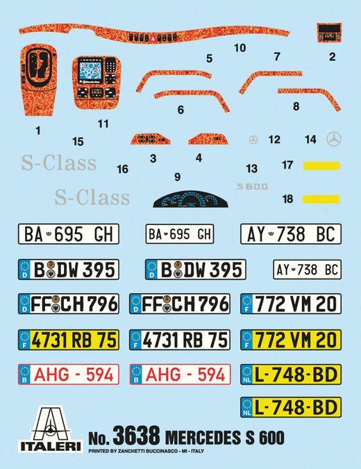 Maquette voiture : Mercedes Benz 600S - 1/24 - Italeri 03638 3638 - france-maquette.fr
