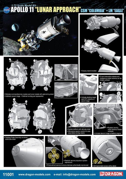 Maquette espace - Apollo 11 Approche Lunaire CSM 'Columbia' et LM 'Eagle' ‐ 1/72 - Dragon 11001