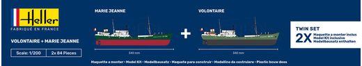 Maquette bateau : Starter Kit VOLONTAIRE + MARIE JEANNE Twinset - 1:200 - Heller 55604