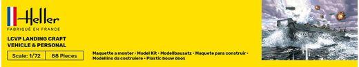 Maquette militaire : Starter Kit LCVP Landungsboot + Figures - 1:72 - Heller 56995